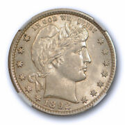 1892 25c Barber Quarter Ngc Ms 61 Uncirculated Us Type Coin Lightly Toned