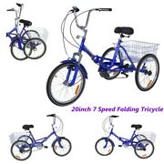 Adult Folding Tricycle Bike Portable Foldable 20 3 Wheels Trike Bicycle Blue
