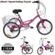 Foldable Adult Tricycle Folding Trike 20'' 7 Speed Rose Red Bikes With Basket Us