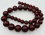 Antique Natural Red Cherry Amber Graduated Huge Beaded Necklace 205.5 Grams