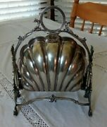 Sweet Antique Clam Shell Biscuit Box Well Marked British English Silver Plate
