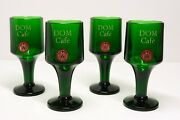 4 Pieces Dom Benedictine Cafe Glasses Vintage Footed Green Barware Bar Decor