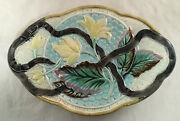 Antique Victorian Majolica Art Pottery Belt And Floral Decorated Platter Tray