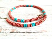 Lava Rock Rondelle Red Brown Turquoise Bead Men Necklace Choker Male Jewelry