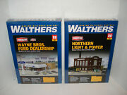 Lot Of 2 New - Walthers Ho Kits Ford Dealer And North. Power And Light Co .