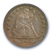 1863 25c Seated Liberty Quarter Anacs Ef 45 Xf Extra Fine To About Uncirculated
