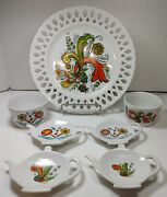 Vintage Berggren One Lace Edge Plate Two Sugar Bowls Four Tea Bag Holders Green