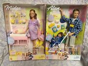 New Happy Family Pregnant Midge And Baby Barbie And Alan And Ryan Picnic Lot 2002