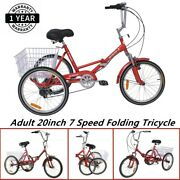Protable Adult Folding Tricycle 20'' Wheel 7 Speed Trike Red Exercise Shopping