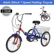 Adult Folding Tricycle 7-speed 20-inch 3 Wheel Cruiser Bike With Cargo Basket Us