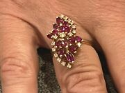 Antique Vintage 14k Yellow Gold Size 7.5 Ruby Diamond Cluster Cocktail Ring 6 G