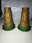 """Vintage Pair Fluted Lily Tulip Art Glass Lamp Shades Green Amber 6"""" Excellent 2"""