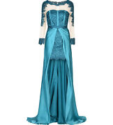 Blumarine Blue Lace Embroidered Sheer Tulle Hi Low Dress Gown 42  6