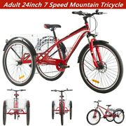 Adult Mountain Tricycle 7 Speed 24'' 3 Wheel Bike Cruiser Trike Red With Basket