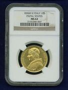 Italy Papal States 1836 10 Scudi Gold Coin Choice Mint State Certified Ngc Ms62