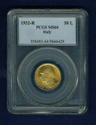 Italy 1932-r Yr.x 50 Lire Uncirculated Gold Coin Pcgs Certified Ms64