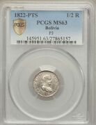 Bolivia Spanish Colonial Ferdinand Vii 1822-pj 1/2 Real Coin Certified Pcgs Ms63