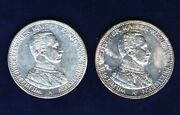 Germany / German States Prussia 1913 And 1914 5 Mark Silver Coins, Uncirculated