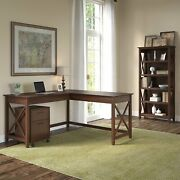 Bush Furniture Key West 60w L Shaped Desk With 2 Drawer Mobile File Cabinet And