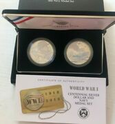 2018 World War 1 Commemorative Proof Silver Dollar And Navy Silver Medal . Ogpandcoa