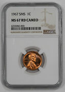 1967 Sms Lincoln Cent Penny 1c Ngc Certified Ms 67 Rd Cameo 003