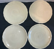 """The Octavia Hill Collection Tracy Porter Set Of 4 Plates Solid Cream Embossed 8"""""""
