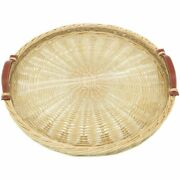 Hermes Picnic Osier Circular Tray Glass Straw Leather Willow Lt108