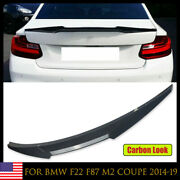 Duck Bill Carbon Look Trunk Spoiler Wing For Bmw 2 Series F22 F87 M2 Coupe 2014+
