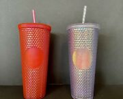 2 Starbucks Holiday 2019 Venti Studded Tumblers Cups 1 Platinum And 1 Neon Pink