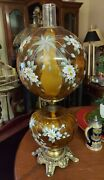 Vintage L.g. Wright Fenton Hand Painted And Signed Amber Glass Gwtw Lamp