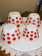Rare Vintage Fire King Red Polka Dot Nesting Bowls Set Of 4, Beautiful Condition