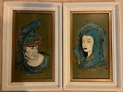 Vintage 1940-50s Roman Soldier And Lady Oil Paintings Mid-century Modern