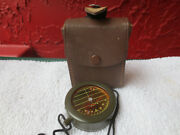 Vintage Pasto Germany Compass Od Green Leather Case Tinted Glass