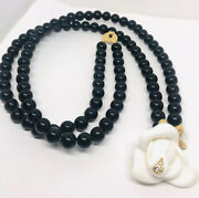Kjl Kenneth Jay Lane Molded Lucite Rose And Beaded Necklace Vintage Jewelry