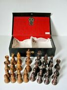 Glass Eyed Knights Chess Set Pieces Wood France King 2 3/4 Crisloid Royal Brand