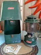Vintage Coleman Model 220h Green Lantern W Metal Case Funnel And Few Extras