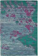 Modern Hand-knotted Carpet 6and0394 X 9and0395 Slate Blue Wool Area Rug
