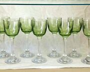 8 Baccarat Crystal Chartreuse Green Vintage Wine Glasses Free Shipping.