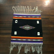 Vintage Mexico Card Table Cloth Cover Black Wool Woven Fringe