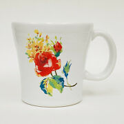 Fiestaware Floral Bouquet Red Rose On White 12 Oz Coffee Mug Usa
