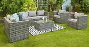 Garden Outdoor Furniture Grey Rattan 7 Seat Sofa Set With Table And Rain Cover