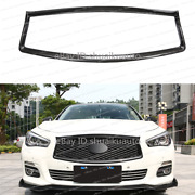 For Infiniti Q50 14-17 Carbon Fiber Front Bumper Grille Sport Grill Overlay Cove