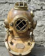 New Rare Brown Antique Copper And Brass Diving Divers Helmet Us Navy Mark V Deep