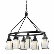 6 Bulb Oval Metal Frame Chandelier With Glass Shades, Black And White