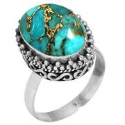 Copper Blue Turquoise Ring 925 Sterling Silver Handmade Jewelry Size 10 Zr23213