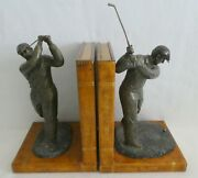 Maitland Smith Pair Of Golfer Bookends Bronze Figures Aged Books Golf Stunning