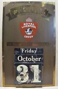Royal Liverpool Group Ins Co Antique Brass Advertising Calendar Sign Ny
