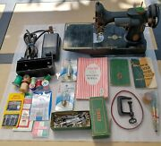 Singer 221 Featherweight Sewing Machine With Manuals, Accessories, Case And Key