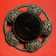 Victorian Etruscan Revival Broach With Faceted Back Glass