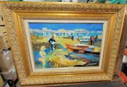 Christine Oberthur Scenic Beach Signed Heavy Gold Framed Oil Painting On Canvas